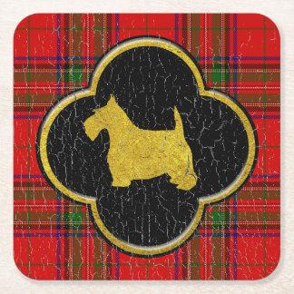 Posavasos Cuadrado De Papel Tela escocesa del vintage de Terrier del escocés