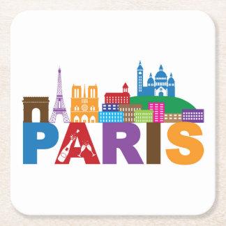 Posavasos Cuadrado De Papel Tipografía colorida de París, Francia el |