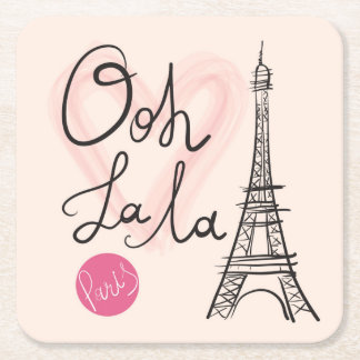 Posavasos Cuadrado De Papel Torre Eiffel dibujada mano