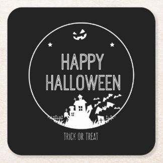Posavasos Cuadrado De Papel Truco o invitación del feliz Halloween