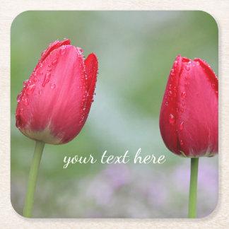 Posavasos Cuadrado De Papel Tulipanes rojos