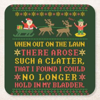 Posavasos Cuadrado De Papel Twas divertido la noche antes del navidad chistoso
