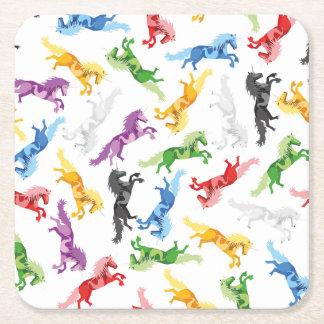 Posavasos Cuadrado De Papel Unicornio coloreado del modelo