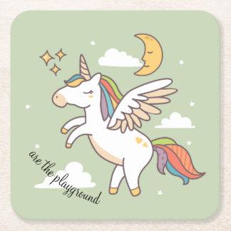 Posavasos Cuadrado De Papel Unicornio del vuelo