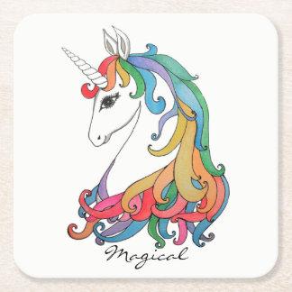 Posavasos Cuadrado De Papel Unicornio lindo del arco iris de la acuarela