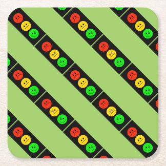 Posavasos Cuadrado De Papel Verde inclinado luz de parada cambiante