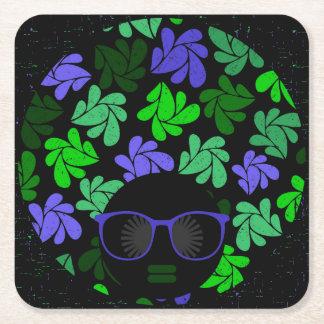 Posavasos Cuadrado De Papel Verde y azul de la diva del Afro