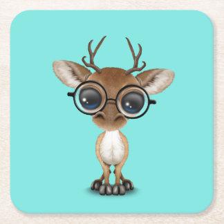 Posavasos Cuadrado De Papel Vidrios que llevan de los ciervos Nerdy del bebé