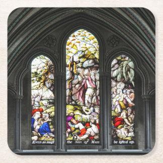 Posavasos Cuadrado De Papel Vitral de Transept de la catedral de Salisbury