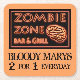 Posavasos Cuadrado De Papel Zona divertida Marys sangriento del zombi de