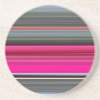 Posavasos De Arenisca #1 abstracto: Cerise y gris