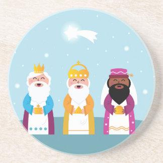 Posavasos De Arenisca 3 reyes pintados a mano