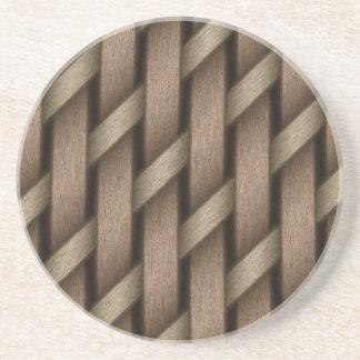Posavasos De Arenisca Armadura de Brown de la materia textil de la cesta