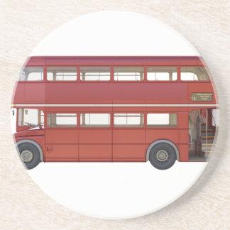 Posavasos De Arenisca Autobús del rojo del autobús de dos pisos