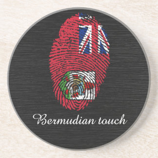Posavasos De Arenisca Bandera bermude6na de la huella dactilar del tacto