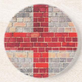 Posavasos De Arenisca Bandera de Inglaterra en una pared de ladrillo