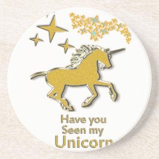 Posavasos De Arenisca Caballo del potro del unicornio del oro con las