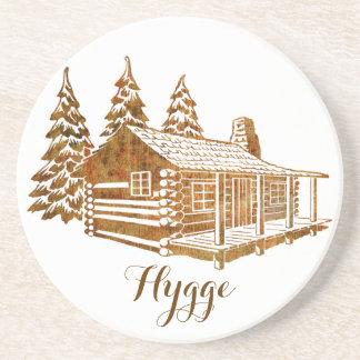 Posavasos De Arenisca Cabaña de madera acogedora - Hygge o su propio