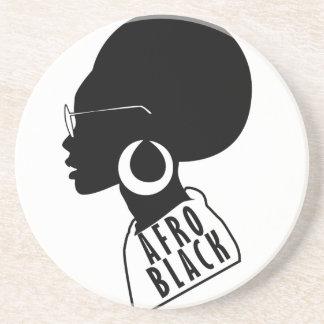 Posavasos De Arenisca Camiseta negra afroamericana del regalo del AFRO