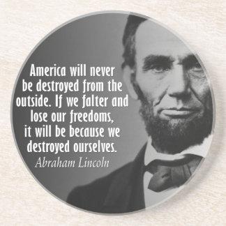 Posavasos De Arenisca Cita de Abe Lincoln en la libertad