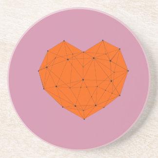 Posavasos De Arenisca Corazón geométrico