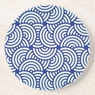 Posavasos De Arenisca Curva azul del japonés de Deco