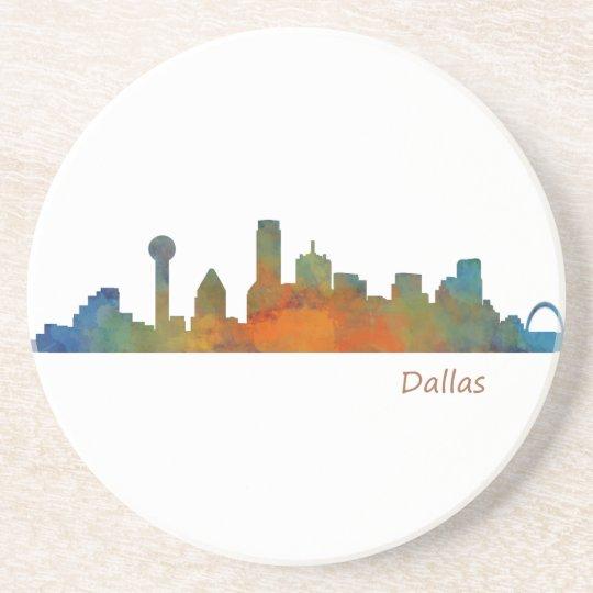 Posavasos De Arenisca Dallas Texas City Watercolor Skyline Hq v1