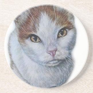 Posavasos De Arenisca Dibujo del blanco y del naranja del gato