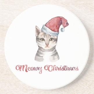 Posavasos De Arenisca Diseño del navidad de Meowy para los amantes del