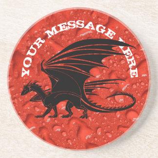 Posavasos De Arenisca Dragón negro en fondo rojo