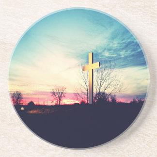Posavasos De Arenisca En la cruz