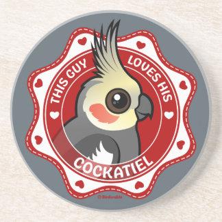 Posavasos De Arenisca Este individuo ama su Cockatiel