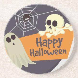 Posavasos De Arenisca Fantasmas y bandera pirata del feliz Halloween