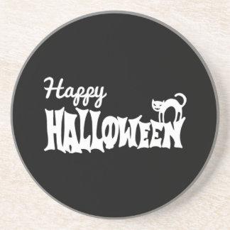 Posavasos De Arenisca Feliz Halloween blanco y negro
