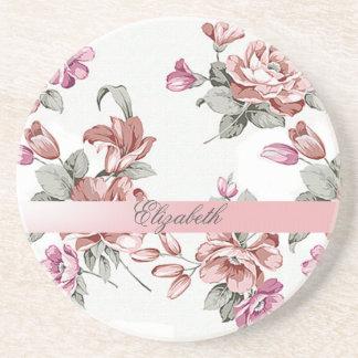Posavasos De Arenisca Femenino elegante del vintage Flor-Personalizado