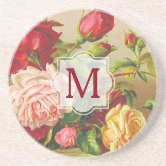 Posavasos De Arenisca Flores del ramo de los rosas del Victorian del