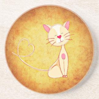 Posavasos De Arenisca Gato lindo del dibujo animado