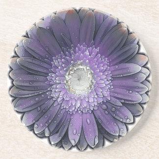Posavasos De Arenisca Gerbera púrpura de la lluvia