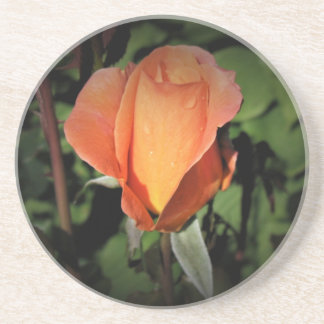 Posavasos De Arenisca Gotas del agua en color de rosa anaranjado