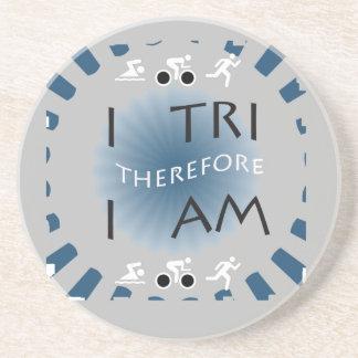 Posavasos De Arenisca I tri por lo tanto soy Triathlon