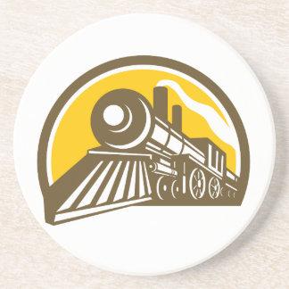 Posavasos De Arenisca Icono del tren de la locomotora de vapor