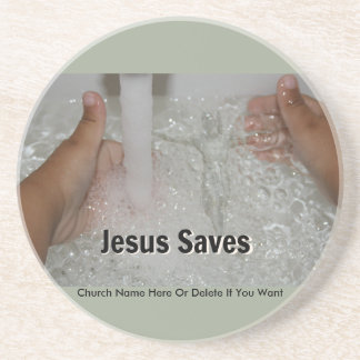 Posavasos De Arenisca Jesús en agua con dos pulgares sube la promoción