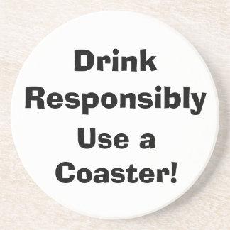 Posavasos De Arenisca ¡La bebida responsable, utiliza un práctico de