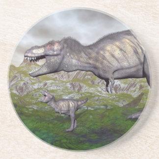 Posavasos De Arenisca La momia y el bebé 3D del dinosaurio del rex del