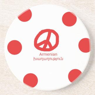 Posavasos De Arenisca Lengua y diseño armenios del símbolo de paz
