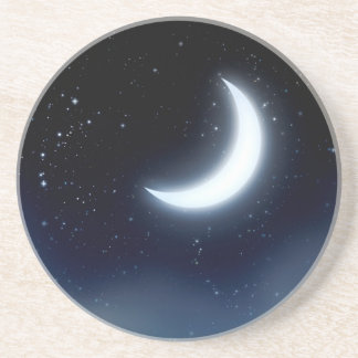 Posavasos De Arenisca Luna creciente sobre Sky2 estrellado