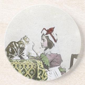 Posavasos De Arenisca Mala niña del vintage de la fiesta del té del