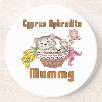 Posavasos De Arenisca Mamá del gato del Aphrodite de Chipre