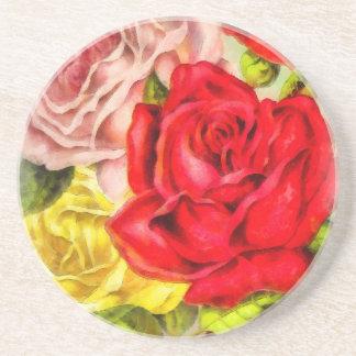 Posavasos De Arenisca Manojo de acuarela de los rosas