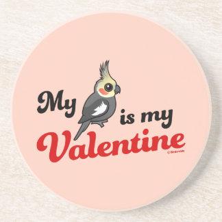 Posavasos De Arenisca Mi Cockatiel es mi tarjeta del día de San Valentín